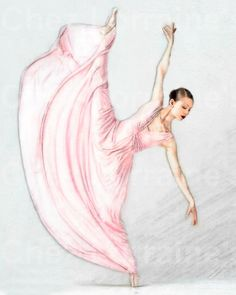 Reaching:  A Ballet Dance Watercolor Fine Art by ChezLorraines