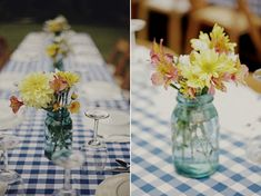 rustic backyard rehearsal dinner, blue and white table linen, mason jar center piece, wildflower centerpiece
