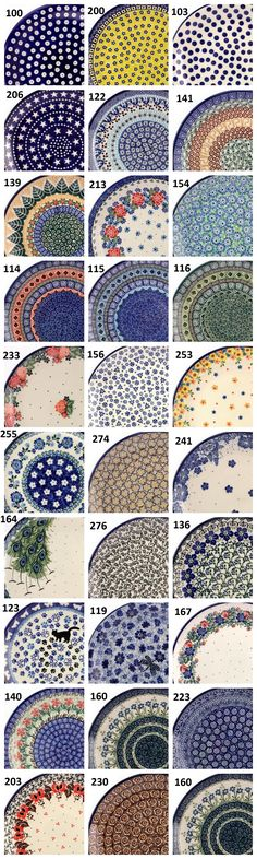 Browse our Polish pottery by patterns. There are so many lovely designs of ornaments with all colors! Not only the traditional navy blue but also other colors like yellow, green, red, rose, orange... and so many styles! :) https://slavicapottery.com, pottery from Boleslawiec