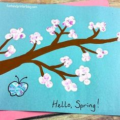 This Cherry Blossom Branch Craft made using multi-colored fingerprints makes an easy Spring activity for kids. Also introduces Japanese culture. Spring Art Projects, Spring Crafts, Projects For Kids, Preschool Arts And Crafts, Craft Activities For Kids, Crafts For Kids, Craft Ideas, Spring Activities, Cherry Blossom Painting