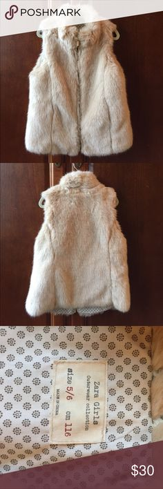 Zara Girls 5/6 Faux Fur Vest Zara. Girls 5/6. Faux fur vest. Cream/tan. Gold zipper. Worn once for a photo session. Like new. Pet free smoke free home. Zara Jackets & Coats Vests