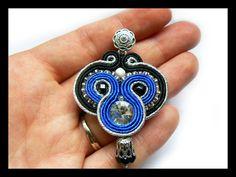 Soutache earrings Swarovski crystals silver by Mayasbijou on Etsy €17.01 EUR on Etsy.com