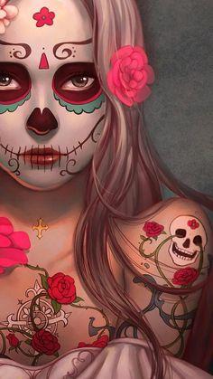 Sugar Skull Wallpaper, Sugar Skull Artwork, Wallpaper Caveira, Day Of The Dead Artwork, Day Of The Dead Skull, Catrina Tattoo, Sugar Skull Girl, Sugar Skulls, Zombie Disney
