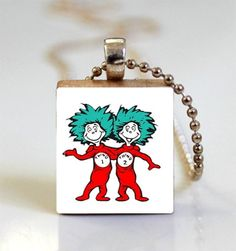 Dr. Seuss' Thing 1 and Thing 2 Scrabble Tile Pendant