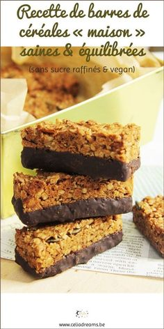 Healthy Homemade Cereal Bars Recipe (No Refined Sugar & Vegan) - Test my healthy and balanced cereal bars, easy and quick to make. It is the ideal snack, sn - Cheesecake Recipes, Dessert Recipes, Homemade Cereal, Homemade Recipe, Scones Ingredients, Cereal Bars, Healthy Breakfast Recipes, Dessert Healthy, Vegan Recipes