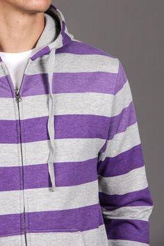 Massive Full Zip Striped Fleece Hoodie Grey Heather/Royal Purple