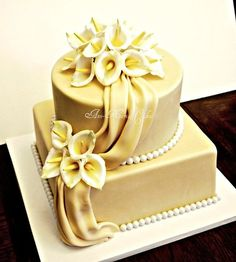50th Anniversary Calla Lily cake - by AnnMariesCakes @ CakesDecor.com - cake decorating website