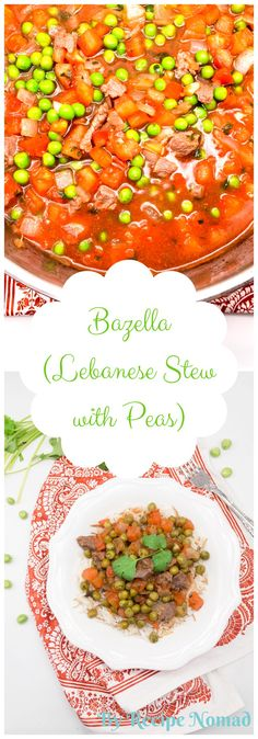 Bazella (Lebanese Stew with Peas) is a classic dish made of peas, beef, tomatoes, onion, cilantro and garlic served over Arabic Rice. The perfect dish to warm you up on a cold night! !!   Bazella (Lebanese Stew with Peas)  http://www.recipenomad.com/bazella-lebanese-stew-with-peas/