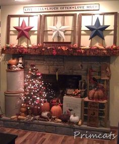 with old windows, fall tree & barn stars from Primcats.with old windows, fall tree & barn stars from Primcats. Primitive Homes, Primitive Kunst, Primitive Crafts, Country Primitive, Primitive Fireplace, Primitive Christmas, Primitive Bedroom, Primitive Stitchery, Primitive Patterns