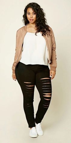 a28049406ea9 Plus Size Distressed Jeans. Summer Outfits Casual For Curvy ...