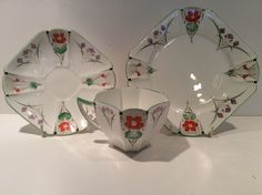 RARE SHELLEY ART DECO QUEEN ANNE SHAPE TRIO PANSIES in Pottery, Porcelain & Glass, Porcelain/China, Shelley | eBay