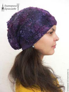 """Купить Валяная женская шапка """"Глубокий космос"""" - валяная шапка, валяная шляпка, шапка валяная"""