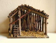 Could diy one of these. Wood and Moss Manger for Christmas Nativity Scene - ShabbyNChic Nativity Stable, Christmas Nativity Scene, Nativity Crafts, Noel Christmas, Winter Christmas, Holiday Crafts, Vintage Christmas, Christmas Ornaments, Nativity Creche