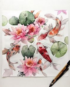 Image may contain: 2 people, flower Watercolor Fish, Watercolour Painting, Watercolor Flowers, Koi Painting, Watercolors, Japanese Watercolor, Watercolor Animals, Koi Art, Fish Art