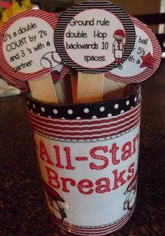 All Star Breaks-  Baseball Themed Brain Break Freebies