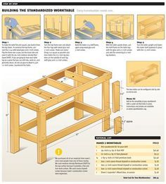 image of garage work bench Workbench Plans for Garage and Woodworking Shop Building A Workbench, Workbench Plans, Woodworking Workbench, Garage Workbench, Industrial Workbench, Workbench Organization, Folding Workbench, Desk Plans, Woodworking Machinery