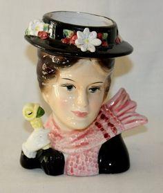 Mary Poppins Head Vase Vintage Walt Disney Productions Enesco   eBay
