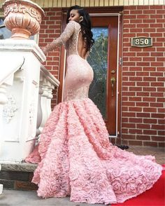 Classy Prom Dresses, Gorgeous Pink Long Sleeve Prom Dresses Sexy See Through Long Sleeves Open Back Mermaid Evening Gowns South African Formal Party Dress Prom Dresses Long Black Girl Prom Dresses, Prom Dresses Long With Sleeves, Homecoming Dresses, Sexy Dresses, Pink Dress, Beautiful Dresses, Long Mermaid Prom Dresses, Sleeved Prom Dress, Wedding Dresses