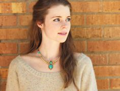 Turquoise, Coral, and Gold Tibetan Pendant Necklace, Scarab Necklace, Bib Necklace, Statement Necklace, Egyptian Necklace  This necklace