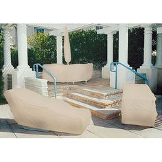 Cheap Dayva Premium Sandstone Beige Tron-weve Round Table & Chair Cover w/ Umbrella Hole Patio Furniture Covers, Iron Furniture, Outdoor Furniture Sets, Loveseat Covers, Ottoman Cover, Square Ottoman, Outdoor Heaters, Patio Heater, Wicker Ottoman