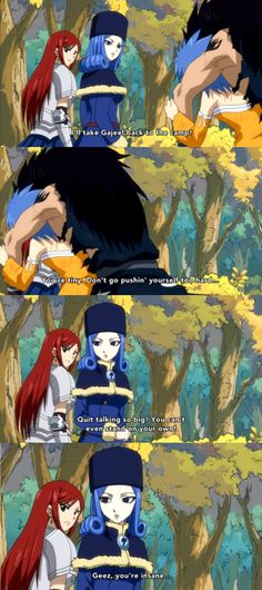 """Gajeel and levy argument. I love how juvia is staring at them like """" they are too cute!"""""""