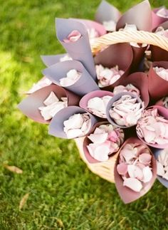 Paper cones filled with petals for wedding guests to throw when couples walk back down the aisle after the ceremony Good for an outdoor wedding! Mod Wedding, Purple Wedding, Floral Wedding, Fall Wedding, Wedding Colors, Wedding Flowers, Wedding Ceremony, Reception, Future Mrs