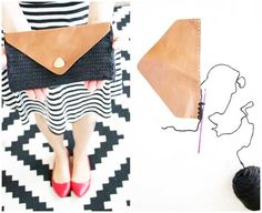 Bolso de mano estilo sobre con solapa de cuero artesanal de crochet
