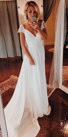 30 Beautiful Wedding Dresses By Top USA Designers ❤ beautiful wedding dresses simple straight v neckline with caps sleeves truvellebridal ❤ See more: http://www.weddingforward.com/beautiful-wedding-dresses/ #weddingforward #wedding #bride