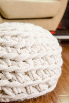 Just look at the texture of these oversized crochet stitches!!! Easy and Fast Hand Crochet Pouf Pattern http://www.flaxandtwine.com/2016/11/crochet-pouf-pattern/?utm_campaign=coschedule&utm_source=pinterest&utm_medium=anne%20weil%20%7C%20flax%20and%20twine&utm_content=Easy%20and%20Fast%20Hand%20Crochet%20Pouf%20Pattern