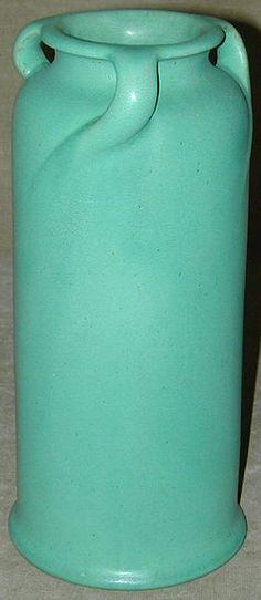 Teco Pottery - Four-Handled Vase. Matte Green Glaze. Chicago, Illinois. Circa 1900.