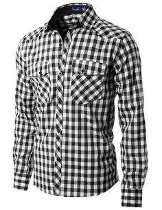 Black Gingham Slim Button Shirt