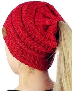 e36742c5 Ponytail Beanie Winter Chunky Messy Bun Beanie Stretch Cable Knit Hat Cap -  Dark Red - CR188C20UN0