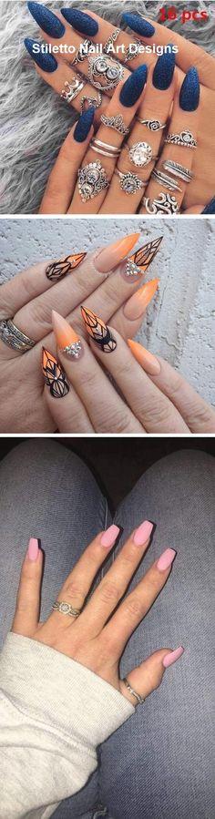 30 Great Stiletto Nail Art Design Ideas #naildesign Stiletto Nail Art, Nail Art Designs, Fall Nails, Stylish, Nail Ideas, Pretty, Design Ideas, Beautiful, Jewelry