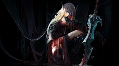 wow night elf female wallpaper | Wallpaper world of warcraft, chenbo, elf, elf girl, sword, ears, blood ...