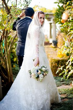 Classic long sleeved wedding dress.