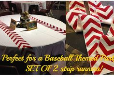 Baseball Party Themed Red Chevron Modern Wedding Table Runner - set of 2 wide by your choice of length Chevron - Wedding or Party runners Baseball Centerpiece, Baseball Party Decorations, Banquet Centerpieces, Baseball Table, Baseball Theme Birthday, Sports Wedding, Sports Party, Red Chevron, Quinceanera Party
