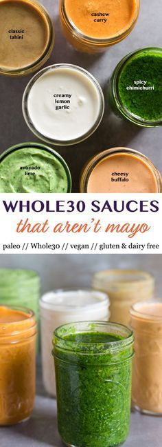6 Whole30 Sauces that Aren't Mayo that you need in your life! From chimichurri, to creamy lemon garlic, avocado lime, and more, these sauces will add a boost of flavor to meal prep or any Whole30, vegan, paleo, and gluten free meal! - Eat the Gains #mealp vegan paleo dessert