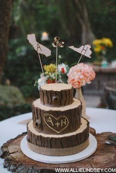 Our awesome, rustic wedding cake we designed to look like a tree. Was perfect for our outdoor, rustic wedding theme and it tasted just as good as it looked! Cake credit to Flour Power in San Diego. Photo credit: Allie Lindsey Photography. Bought the cute cake topper on Etsy. =)