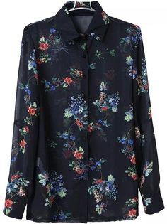 Chiffon Bluse Revers mit Blüten 9.19