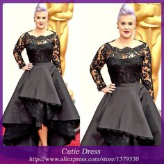 Z320 Elegant Black Long Sleeve Appliqued Lace Asymmetrical Formal Evening Dresses Gown Fast Shipping