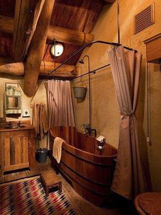 Love this! Trough/barrel bathtub... #dreamhome #countryliving #oldwest