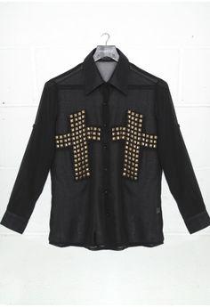 DIY Sheer Studded Cross Blouse