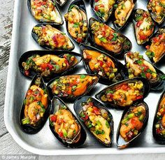 These are stuffed Muscles usually filled with cheese, vegetables, and rice, and commonly found in Spain.