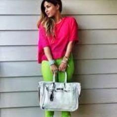 Pink shirt and lime green pants.