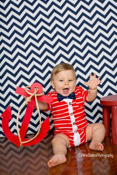 Baby Cardigan Onesie - Red with White Preppy Baby Boy Cardi -