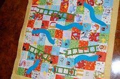 Snakes & Ladders Game Board Quilt - c 2011; game, games, gameboard, children, play, chutes and ladders, quilting, fabric, sewing