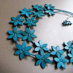 Turquoise Leather Flowers Necklace