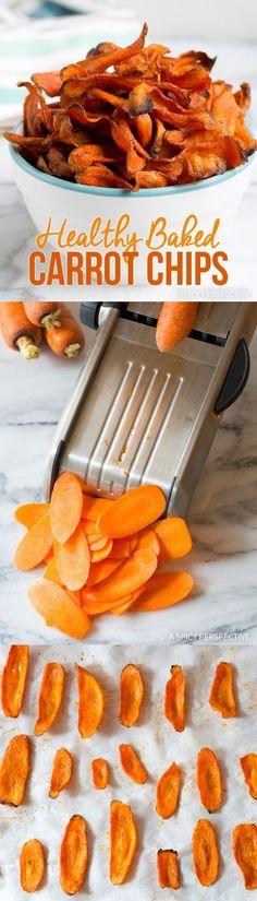 Crisp Healthy Baked Carrot Chips Recipe #glutenfree #paleo #vegan via @spicyperspectiv