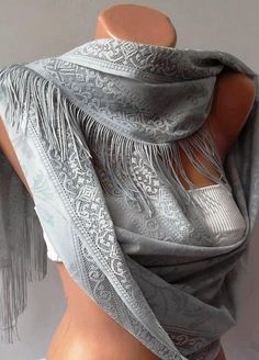 Grey Elegance and Lace Shawl / Scarf Pareo----