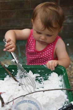 """This is a sensory play recipe that I have wanted to try for a long time and it was so delightfully messy! Soap mud is a soft, foamy, glorious goop, which is wonderful for squeezing and squishing with hands and feet! It is often referred to as """"clean mud"""" as it really does have the …"""